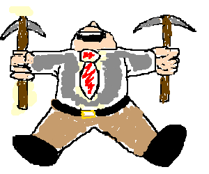 Happy car salesman with a pickaxe in each hand.