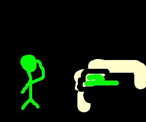 Green man saluting his car