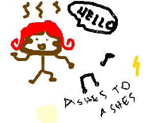 Poop in red wig says hello while dancing to Bowi