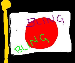Japanese flag defaced with bling bling graffiti