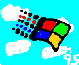 Windows 95 logo on cloudy sky background