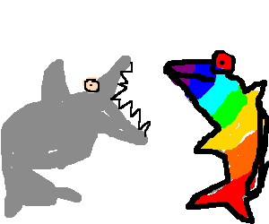 Shark vs. Rainbow Dolphin