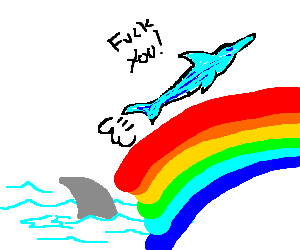 Dolfin using rainbowpower to escape from Shark