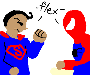 Superman and Spiderman flexing at each other