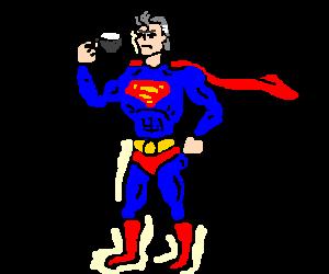 grey superman drinks white tea