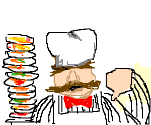 The Chef is sad that he has to clean dishes