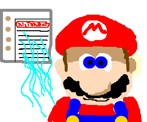 Mario in front of a Nintendo branded... AC?