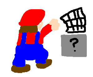 Mario throws netting at nondescript grey object
