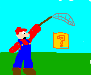 Mario catching a ? block with fish-net