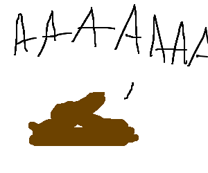 a poo with whipcream on top screaming