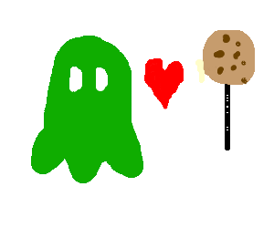 green ghost man loves cookie on a stick.