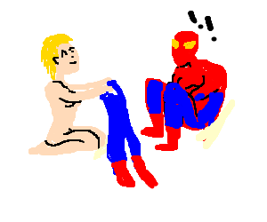blond naked girl shows spiderman pants like his1