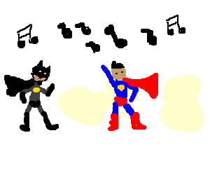 Batman and Superman have a dance off.