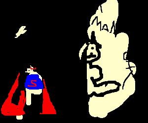 Superman dances while batman kick a guy's ass