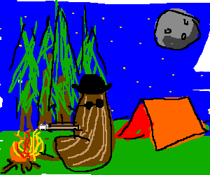 """""""Cousin It"""" camping."""