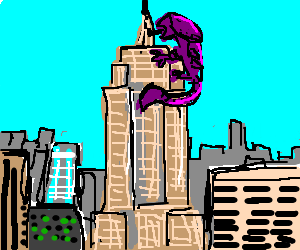 Giant xenomorph climbs the Empire State Building
