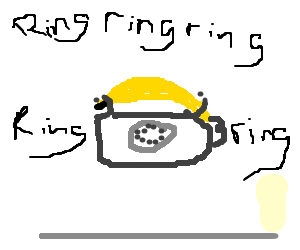 A banana placed upon a phone is ringing