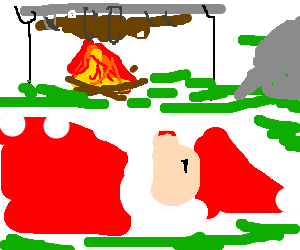 Trix rabbit cooked at campfire, Santa passed out