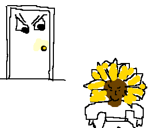 Mean looking door watching a black sunflower guy