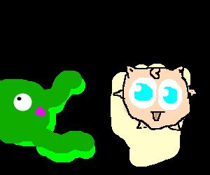 green octopus gives jigglypuff hugs & kisses
