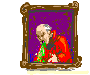 A painting of a vomiting man.