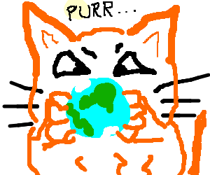 giant orange cat holds planet earth