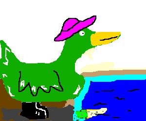 A green Duck with black boots and a pink hat.