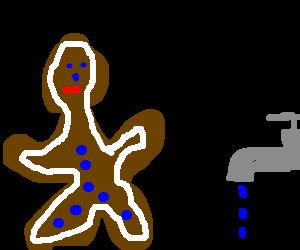 Gingerbread man racing a faucet