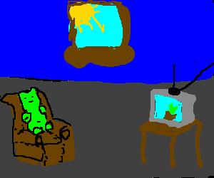 Gummybear watching a plant documentary on TV