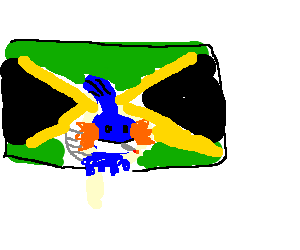 Mudkip smoking a joint before the jamacian flag