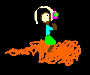 Tiny girl eats lolly on a Cheeto