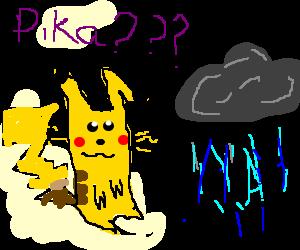 Pikachu is confused at rain cloud