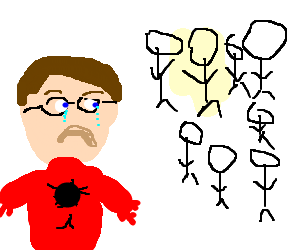 Peter Parker looks sadly at the audience