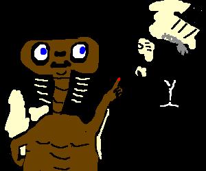E.T.'s neck elongates, startles dapper gentleman