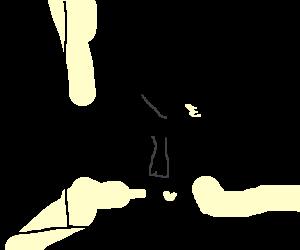 E.T silhouette wearing DOLAR gold chain
