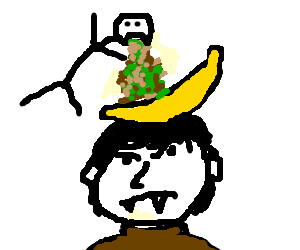 Stickman vomiting on banana thats on a vampire
