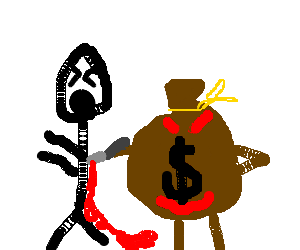 Money pouche stabs stickman in the back