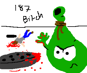 A green sack has just killed a man with manhole