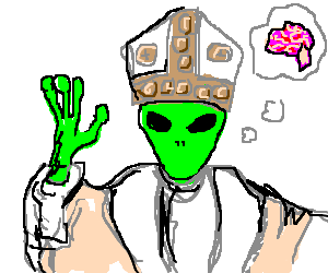 Alien Pope requests the brains of a turd   3 men