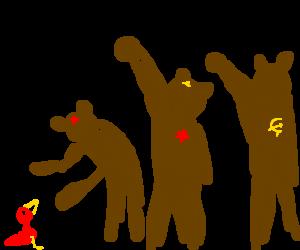 Bears comunist greets a bird
