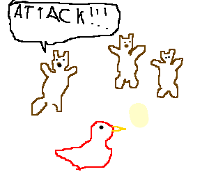 Three bears attacks a red duck.