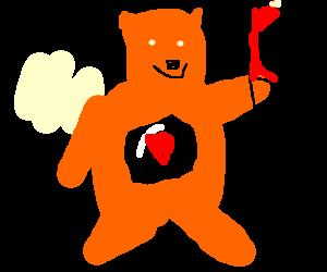 Orange care bear salutes Hitler