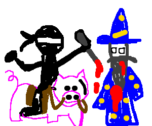 Piggybacking Ninja Stabs Wizard Friend's back