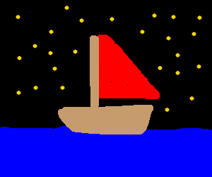 Red-sailed ship sails on serene starry night