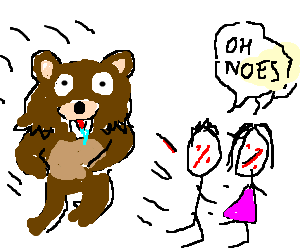 pedobear chases a faceless boy and a facele girl