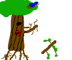 Angry tree chases after rogue twig