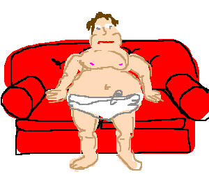 Obese man wearing a diaper sitting on a couch
