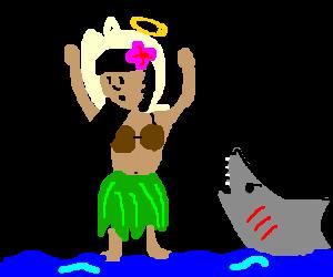 Hawaiian hoola-hoop girl learns to walk on water