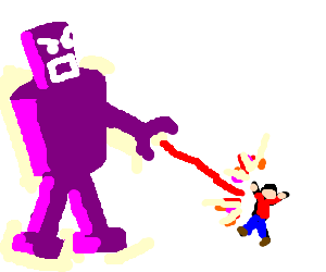 Angry purple robot shoots man with red laser