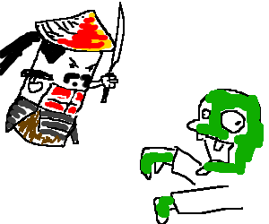 Cardboard Tube Samurai vs. Zombie